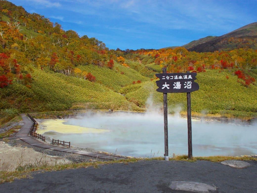 100℃以上の温泉がブクブク!「大湯沼」