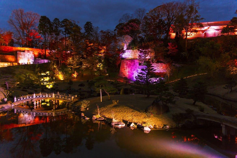 7分間の光のショー「玉泉院丸庭園ライトアップ」