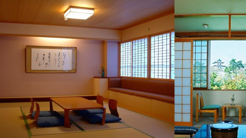 松前城や三大桜を窓から眺める、落ち着いた和室