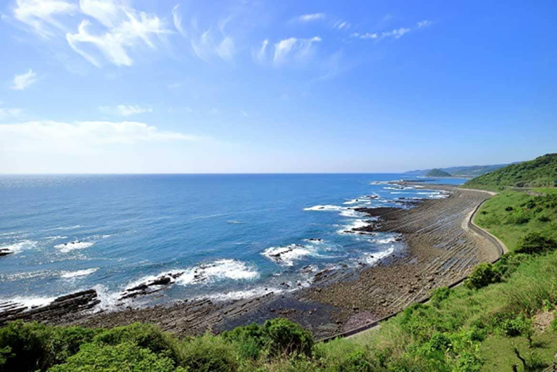フェニックス並木と波状岩、日南海岸を象徴する「堀切峠」